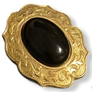 Vintage Gold Tone and Black Brooch Swirl Pattern
